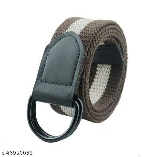 unisex belt multicolored with light weight fiber belt buckle for formal /casual wear (Free Size, Brown & White)