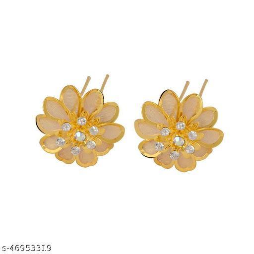 STRIPES 1 Pair Crystal Rhinestone Sunflower Design Gold Hair Juda Pins for Women/Girls (2 Pcs)