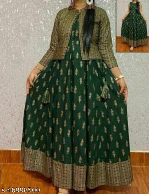 Rayon Beautiful Kurti With Jacket Long Kurti