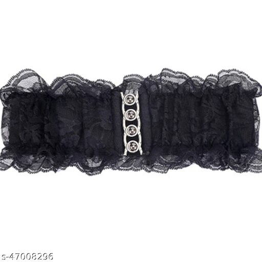 Female Waist Belt Party and Gown Wear Fabric Belt Stretchable Black Color Strechable (Free Size, Black)