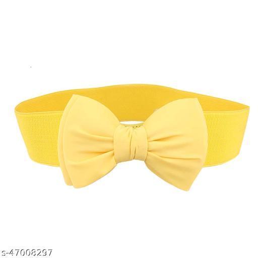 Women's Satin Buckle Belt (Bl4028, Yellow, Free Size)