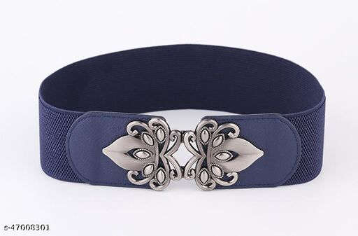 Women's Stretchable Belt for Formal, Casual Occasions (Blue, Free Size)