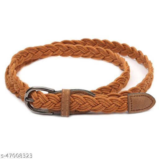 Female P.U leather belt Free size Camel brown colour for formal /casual wear