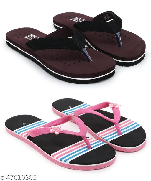 Stylish & Comfortable Multicolour Fabrication Slippers / Flip Flop for Women Combo of 2