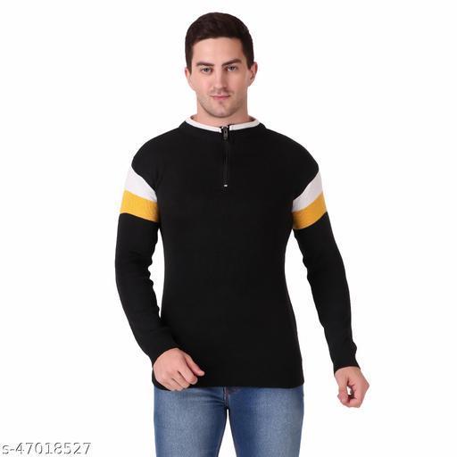 Blushh Collection Men's Striped Pattern Zipper Fullsleeve Sweater