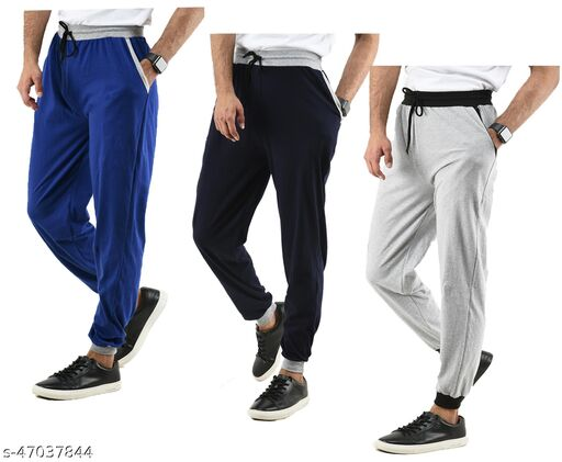 KAVYA Mens Cotton Solid Lower Track Pants (Pack of 3)