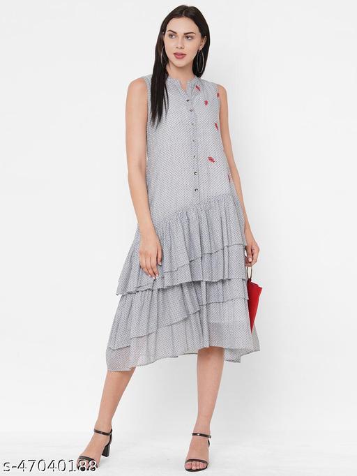 ZOLA Grey Polka Dot Sleeveless Fusion Dress for Women