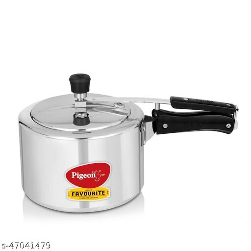 Pigeon Aluminium Induction Base Pressure Cooker with Inner Lid, 3 Litres, Silver