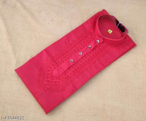Men's Cotton Blend Chikankari Kurta Color Red