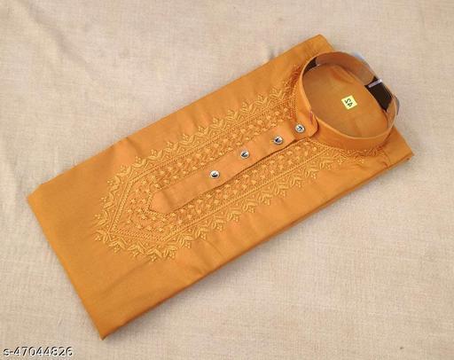 Men's Cotton Blend Chikankari Kurta Color Mustard