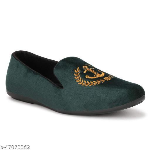 Chinelo Velvet Loafers for Men ( Green )