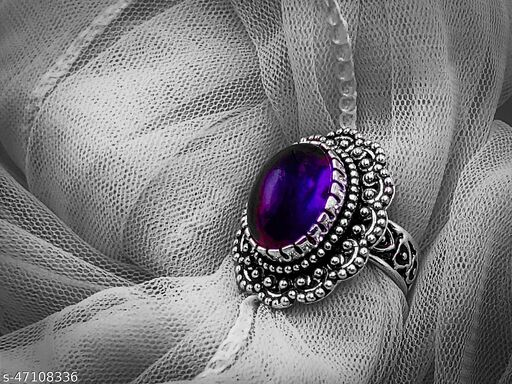 Handmade Filigree Style Silver Plated Oxidized Big Statement Ring with Premium Quality Amethyst Gemstone for Men & Women