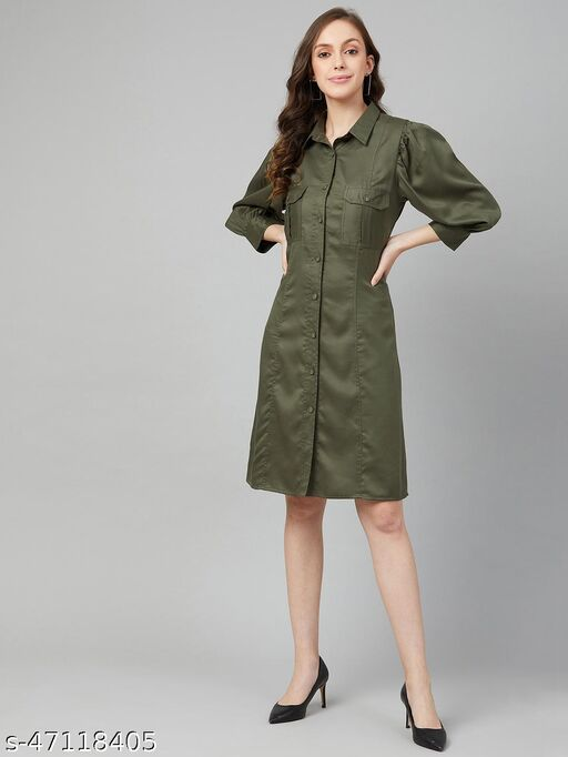 Women Casual Green Colour Above Knee Solid Dress