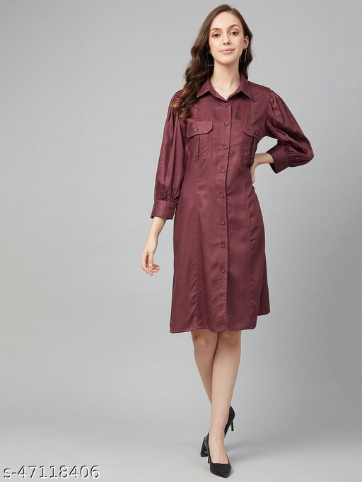 Women Casual Maroon Colour Above Knee Solid Dress