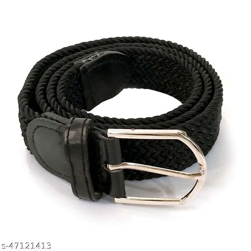 Braided Stretchable belt for boys and girls Black colour adjustable belt for casual/ formal Wear
