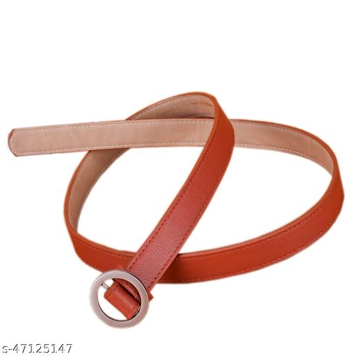 Female P.U leather belt Dark Brown colour for casual /formal wear