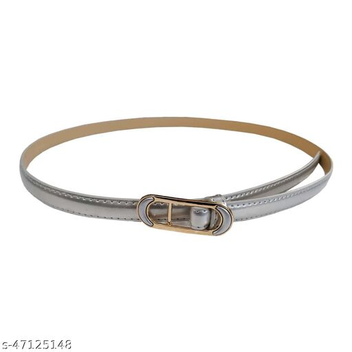 Women's p.u Leather Belt (BL4038, Silver, Free Size)