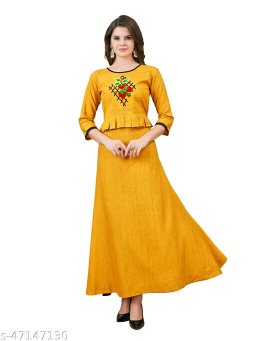 Rayon Fabric Long Gown Anarkali Pattern with Hand Work Design for Women, Ladies,Girls