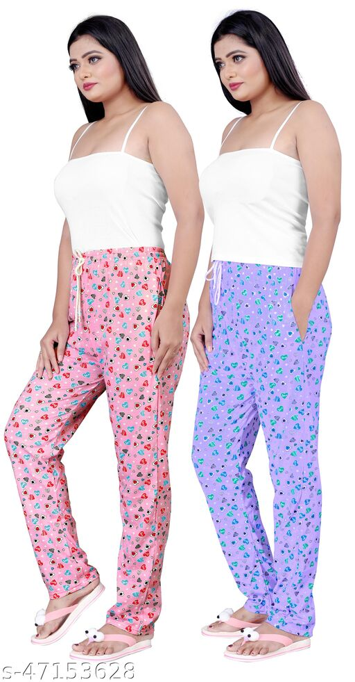 Womens Sleepwear Camisole Top And Heart Printed Pyjama With Cotton Nightwear Set Pack Of 2(Size:-26 To 38)