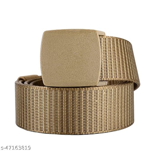 high strength Nylon belt Army Tactical Waist Belt Hole free with Light Weight premium carbon fiber buckle for boys and girls light brown Color (1 Pc)