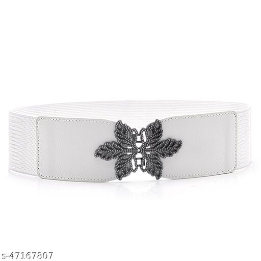 Female P.U Leather White Color Belt Free Size Red Colour,For Formal As Well As Casual Occasions
