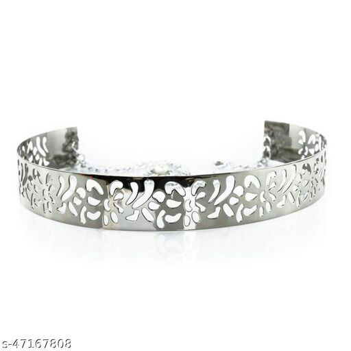 Women's Metal Waist band Flower and Petal Design belt Free size, width 3.5cm Silver colour, for Casual dress and special occasions | BL4096_SILVERDES3.5
