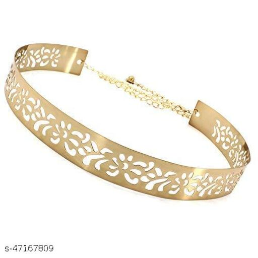 Women's Female Ferns and Petal designed Metal Waist Band Belt Free size, width 3.5cm Golden colour, for Casual dress and special occasions