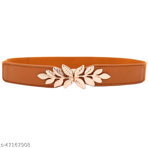 Golden Leaf Buckel With Brown Color Streachable Strap