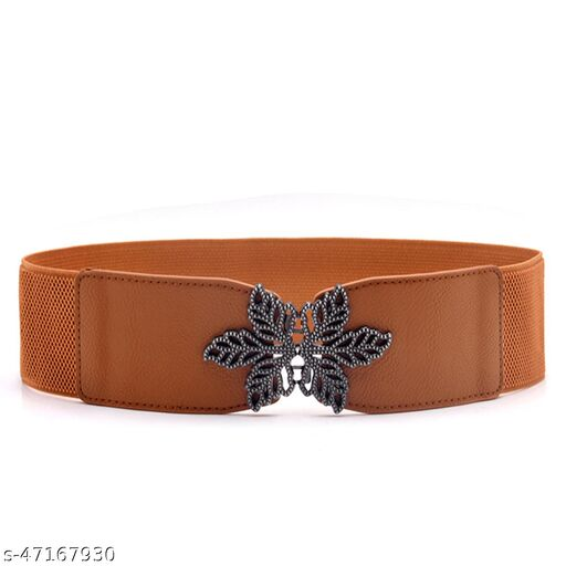 Female P.U Leather Tan Color Belt Free Size Red Color, For Formal As Well As Casual Occasions