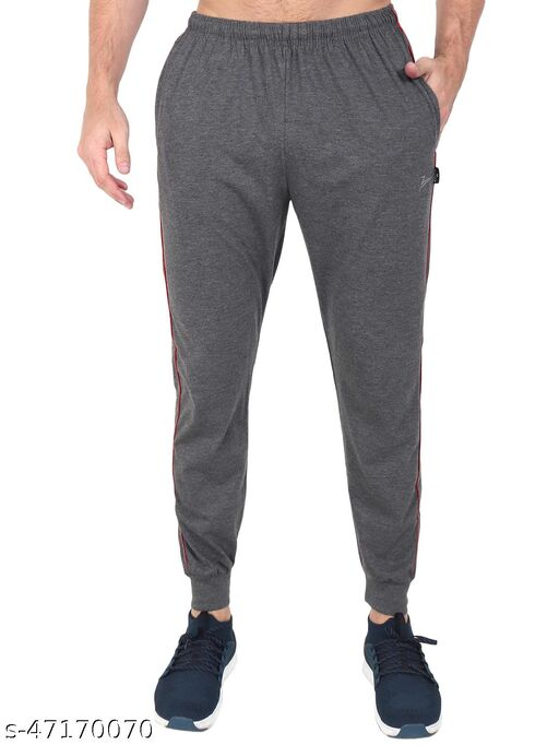Latest Style Men's Pc Cotton Ankle Grip Track Pant-CHARCOAL