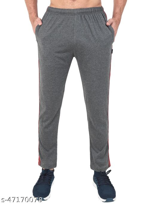 Latest Style Men's Pc Cotton Solid Track Pant-CHARCOAL