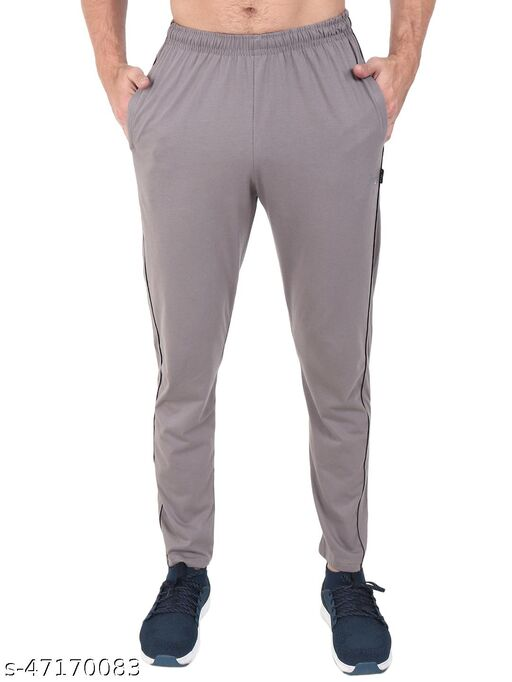 Latest Style Men's Pc Cotton Solid Track Pant-CEMENT