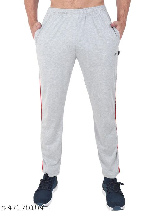 Latest Style Men's Pc Cotton Track Pant With Side Tape-GREY