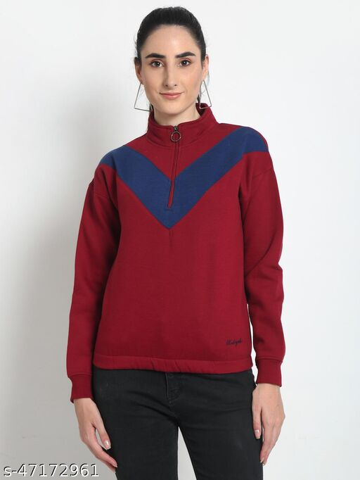 Club York Women's Red Full Sleeve Colourblocked Half Zipper High Neck Sweatshirt