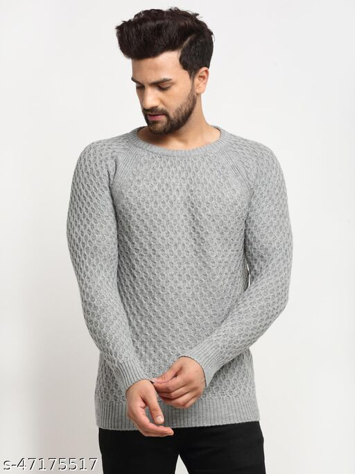 Club York Men's Grey Full Sleeve Ribbed Round Neck Sweater
