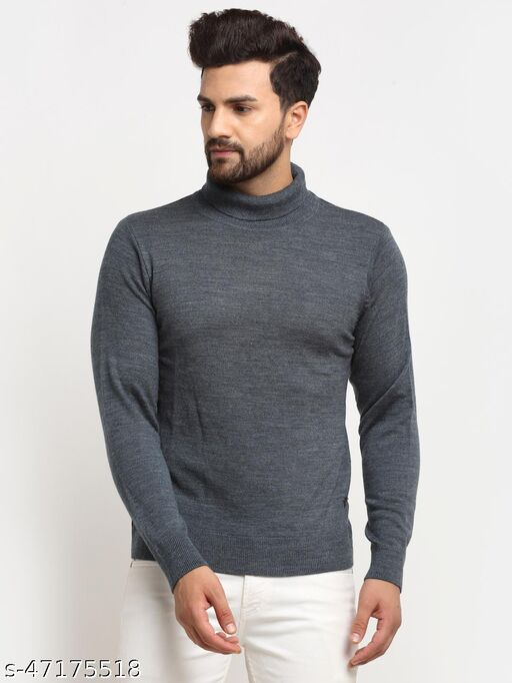 Club York Men's Blue Full Sleeve Solid High Neck Sweater