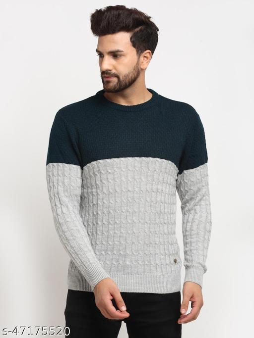 Club York Men's Teal Full Sleeve Colourblocked Round Neck Sweater