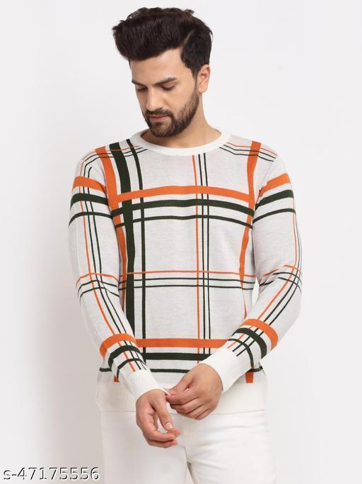 Club York Men's White Full Sleeve Typography Print Round Neck Sweater