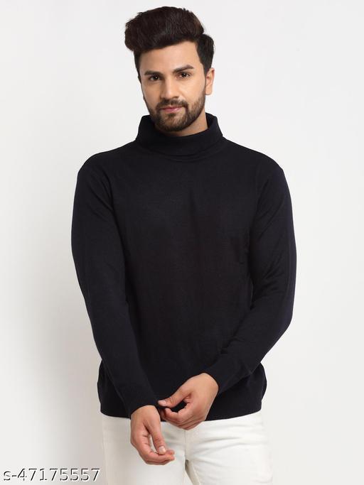 Club York Men's Navy Blue Full Sleeve Solid High Neck Sweater