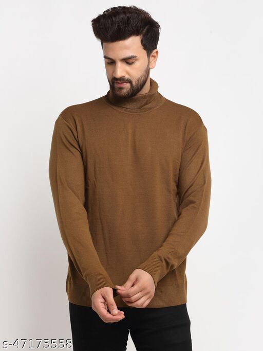 Club York Men's Brown Full Sleeve Solid High Neck Sweater