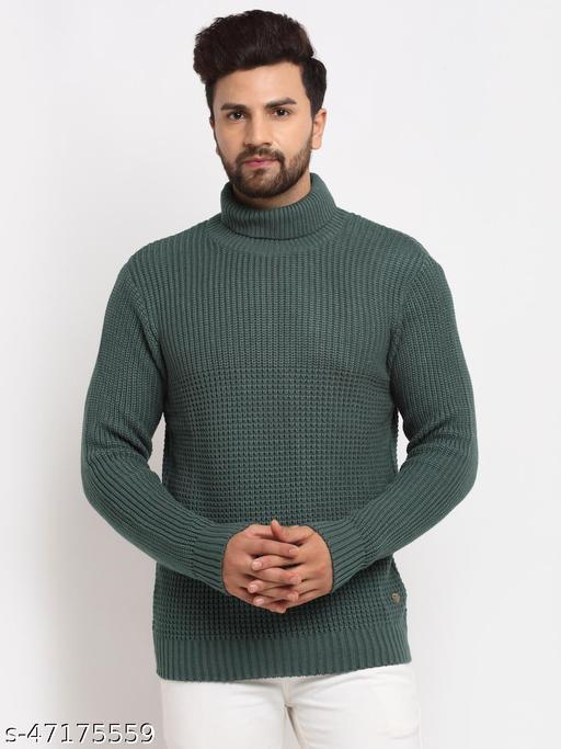 Club York Men's Green Full Sleeve Ribbed High Neck Sweater
