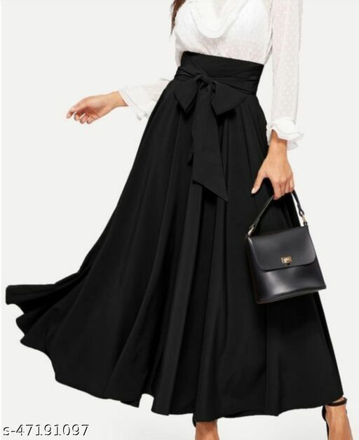 Black Fit and Flare Long Skirt for Women