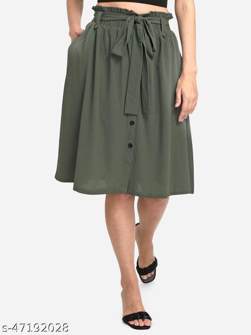 Fbella Women Olive Green Gathered Tie up Skirt