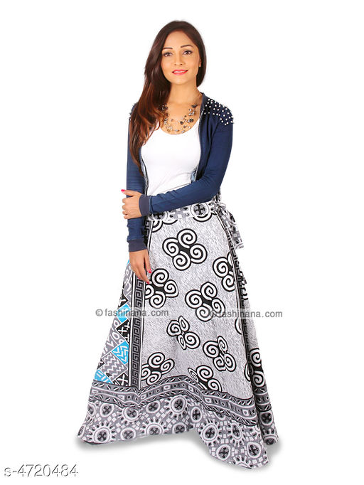 Ethnic Bottomwear - Skirts Stylish Cotton Women's Skirt  *Fabric* Cotton   *Size* Up To 28 in To 36 in (Free Size)   *Length* Up To 40 in   *Type* Stitched   *Description* It Has 1 Piece Of Women's Skirt   *Work* Printed  *Sizes Available* Free Size   Supplier Rating: ★4 (2754) SKU: Grey_Turquoise  Shipping charges: Rs1 (Non-refundable) Pkt. Weight Range: 300  Catalog Name: Trendy Stylish Cotton Women's Skirts Vol 1 - Style N Fashion kurtis Code: 933-4720484--283