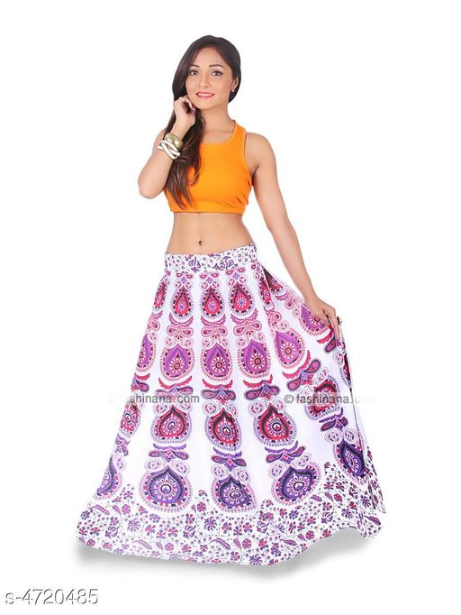 Ethnic Bottomwear - Skirts Stylish Cotton Women's Skirt  *Fabric* Cotton   *Size* Up To 28 in To 36 in (Free Size)   *Length* Up To 40 in   *Type* Stitched   *Description* It Has 1 Piece Of Women's Skirt   *Work* Printed  *Sizes Available* Free Size   Supplier Rating: ★4 (2754) SKU: Pink_Mirchi  Shipping charges: Rs1 (Non-refundable) Pkt. Weight Range: 300  Catalog Name: Trendy Stylish Cotton Women's Skirts Vol 1 - Style N Fashion kurtis Code: 933-4720485--283