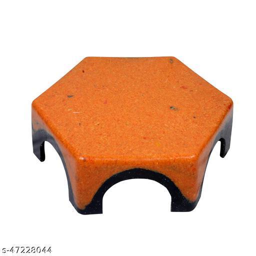 HK Unbreakable Patla Stool for Lifetime Kitchen and Bathroom | Hexagon Design Double Coloured  (Pack of-1 Orange)