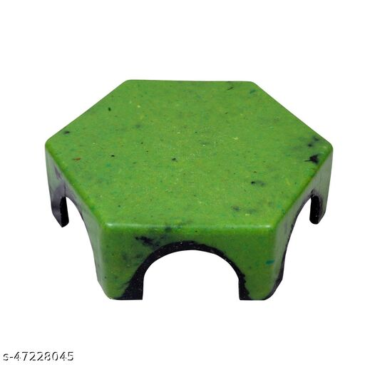 HK Unbreakable Patla Stool for Lifetime Kitchen and Bathroom | Hexagon Design Double Coloured  (Pack of-1 Green)