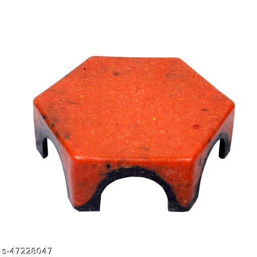 HK Unbreakable Patla Stool for Lifetime Kitchen and Bathroom | Hexagon Design Double Coloured  (Pack of-1 Dark Orange)
