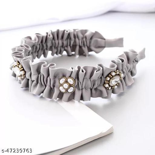 Beautiful Aiyana Grey Plastic Hairband for Women and Girls
