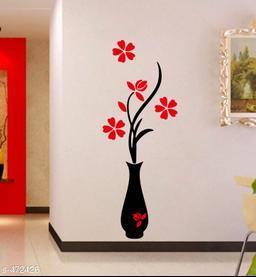 Stylish Vinyl Flower and Pot Wall Sticker